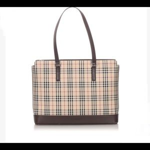 Vintage Burberry Brown House Check Canvas Tote